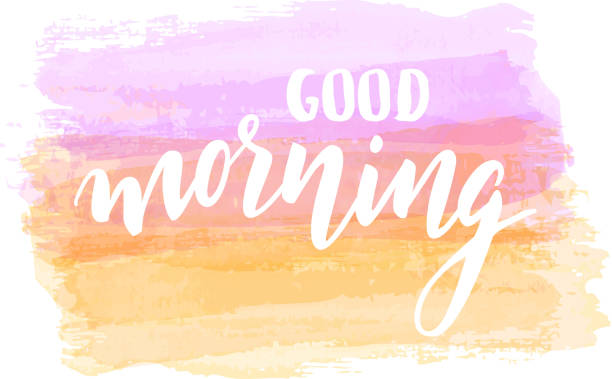Good morning lettering on watercolor background vector art illustration