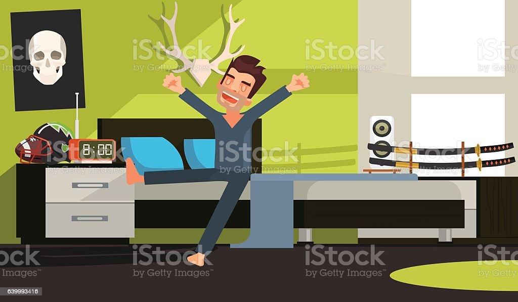 Good morning man character. Vector flat cartoon illustration vector art illustration