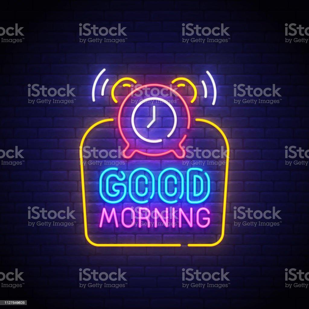 Guten Morgen Licht Leuchtreklame Hellen Schild Banner Guten