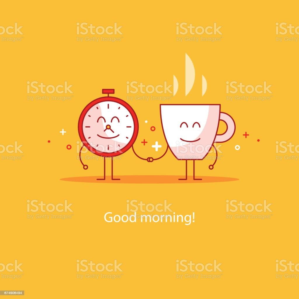 Good morning, new happy day, hot tea time break, breakfast drink vector art illustration