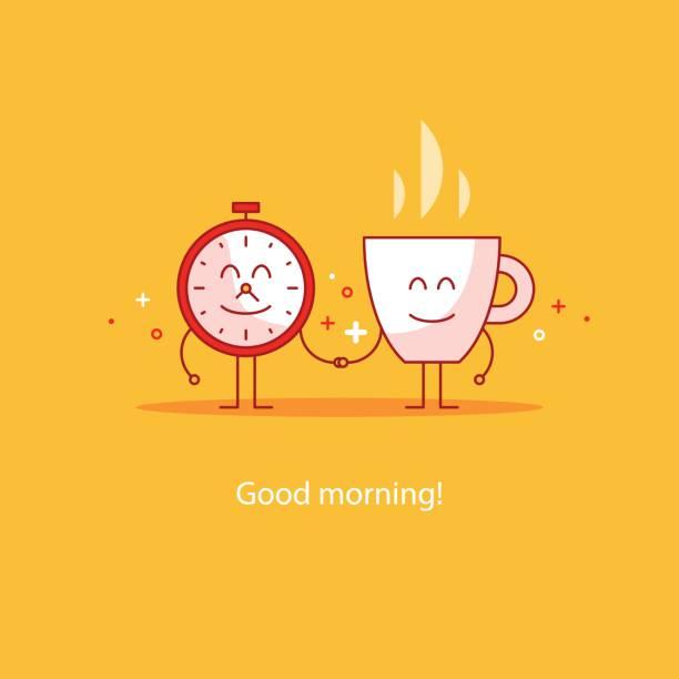 Good morning, new happy day, hot tea time break, breakfast drink vector art illustration