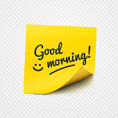 Good morning text and smile sign on yellow sticker over transparent background. Vector illustration