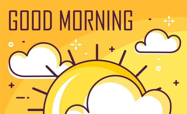 bildbanksillustrationer, clip art samt tecknat material och ikoner med god morgon affisch med moln och solen. tunn linje platt design. vector banner. - morgon