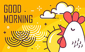 istock Good Morning poster with rooster, sun and waves on yellow background. Thin line flat design. Vector. 1042058806