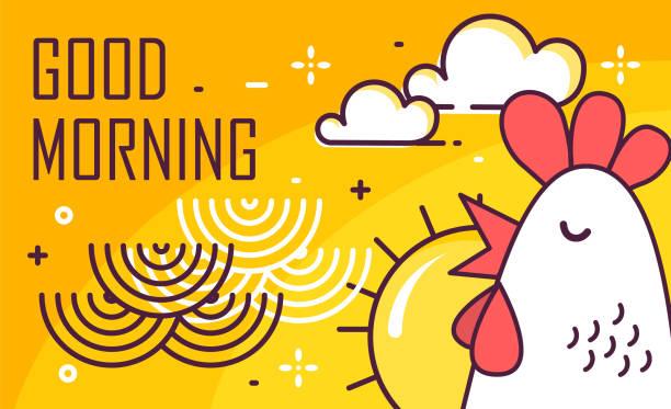 ilustraciones, imágenes clip art, dibujos animados e iconos de stock de cartel buena mañana con gallo, sol y olas sobre fondo amarillo. diseño plano de la delgada línea. vector. - desayuno