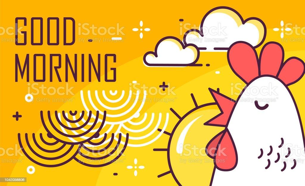 Cartel buena mañana con gallo, sol y olas sobre fondo amarillo. Diseño plano de la delgada línea. Vector. - ilustración de arte vectorial