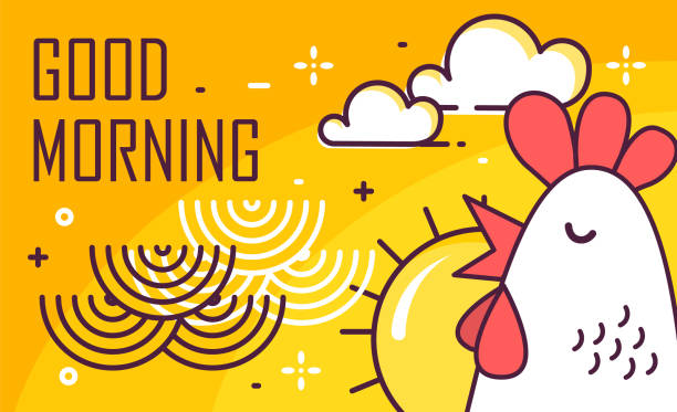 Good Morning poster with rooster, sun and waves on yellow background. Thin line flat design. Vector. vector art illustration