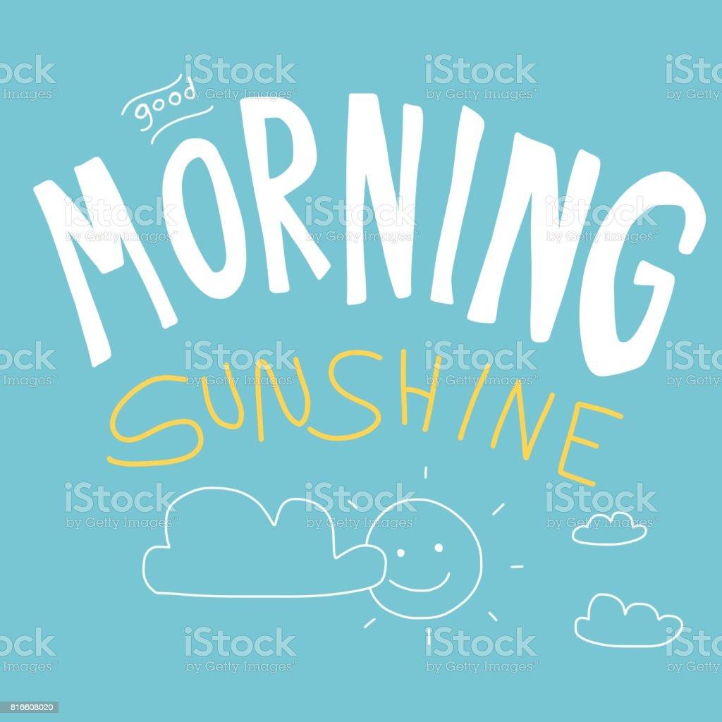 Good Morning Sunshine Vector Illustration Kid Drawing Style