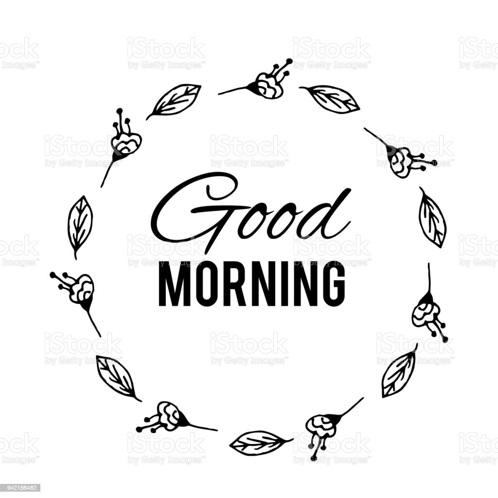 Good Morning Text Flower Wreath Hand Drawn Laurel Greeting Card