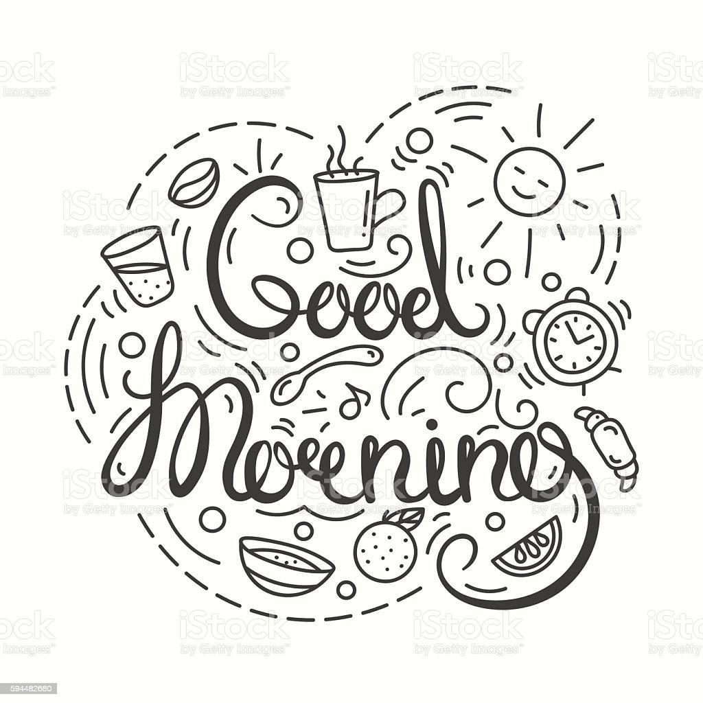 Good morning. Typography Design. ベクターアートイラスト