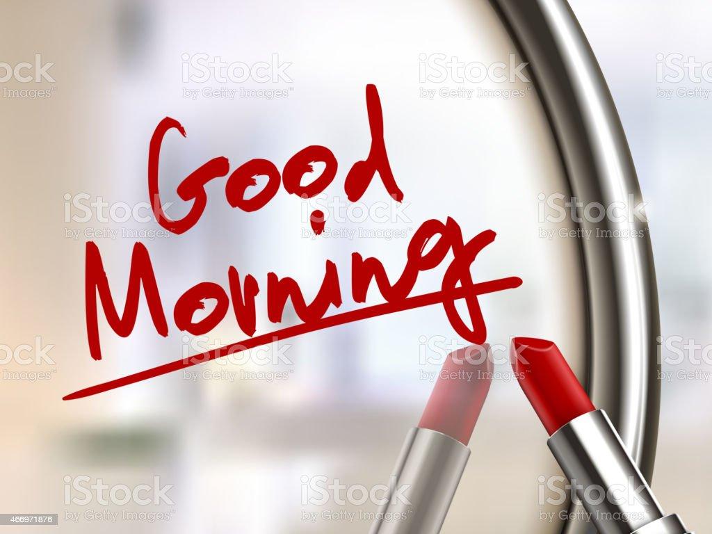 Good Morning Words Written By Red Lipstick Stockvectorbeelden