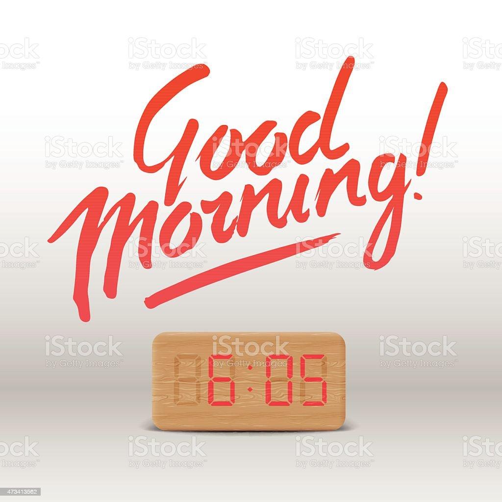 Good Morning. Workspace mock up with wooden digital alarm clock vector art illustration