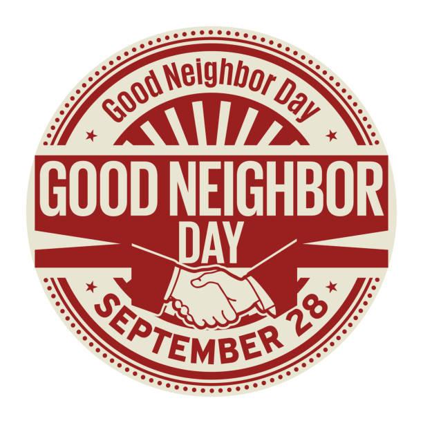 stockillustraties, clipart, cartoons en iconen met goede buur dag, 28 september - buren