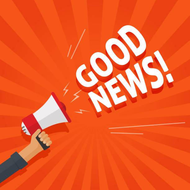 Good news information alert from hand with megaphone or loudspeaker vector illustration, flat cartoon announce notification sign image vector art illustration