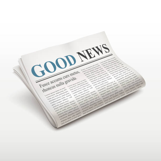 good news words on newspaper good news words on newspaper over white background good news stock illustrations