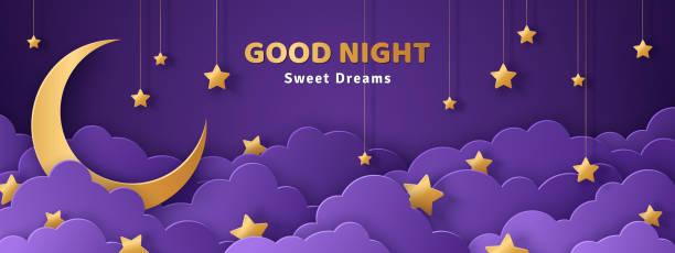 illustrazioni stock, clip art, cartoni animati e icone di tendenza di good night and sweet dreams banner - dream