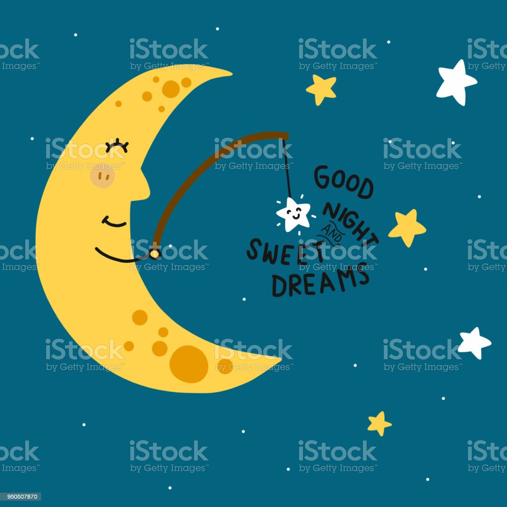 Good Night And Sweet Dreams Moon Fishing Star Cartoon Vector Stock