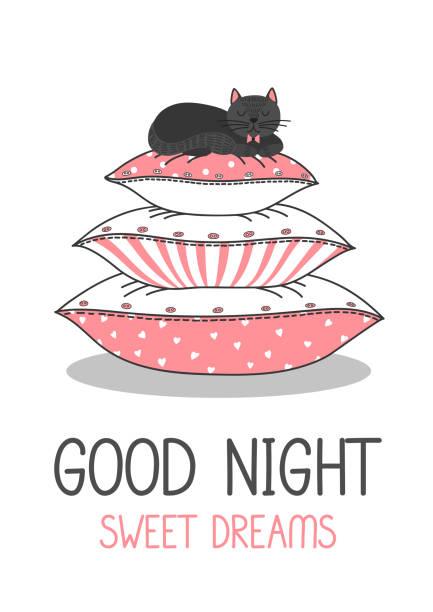 gute nacht. schwarze katze auf kissen - stapelbett stock-grafiken, -clipart, -cartoons und -symbole