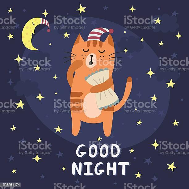 Good night card with a cute sleepy cat vector id523261174?b=1&k=6&m=523261174&s=612x612&h=zukgxkjl2u1tusof7mbjze9yzhkvvcdaojjq6x5tjoq=