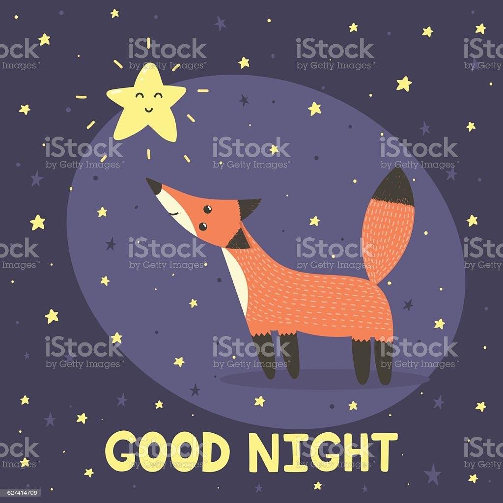 Good night card with cute fox and star vector art illustration