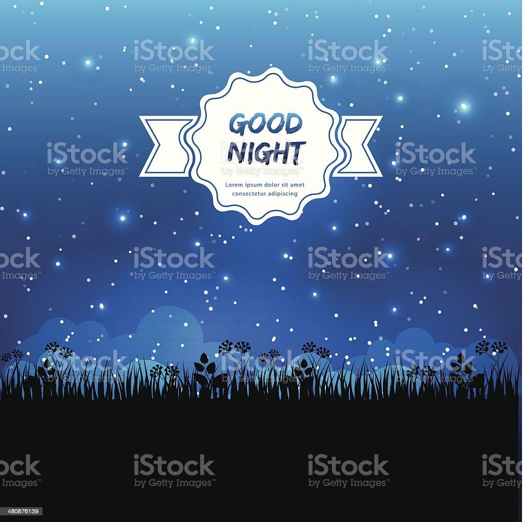 Good night design vector art illustration