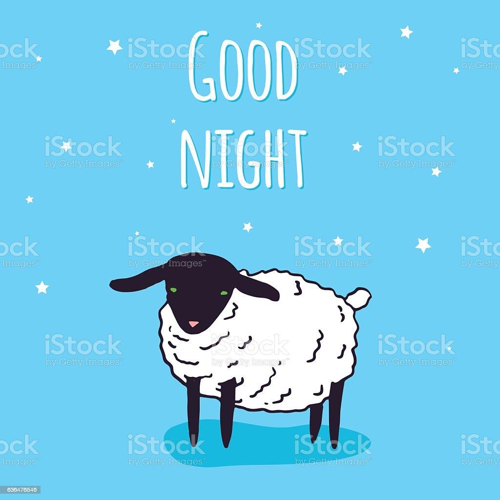 Good Night Greeting Card Design Vector Kawaii Baby Sheep