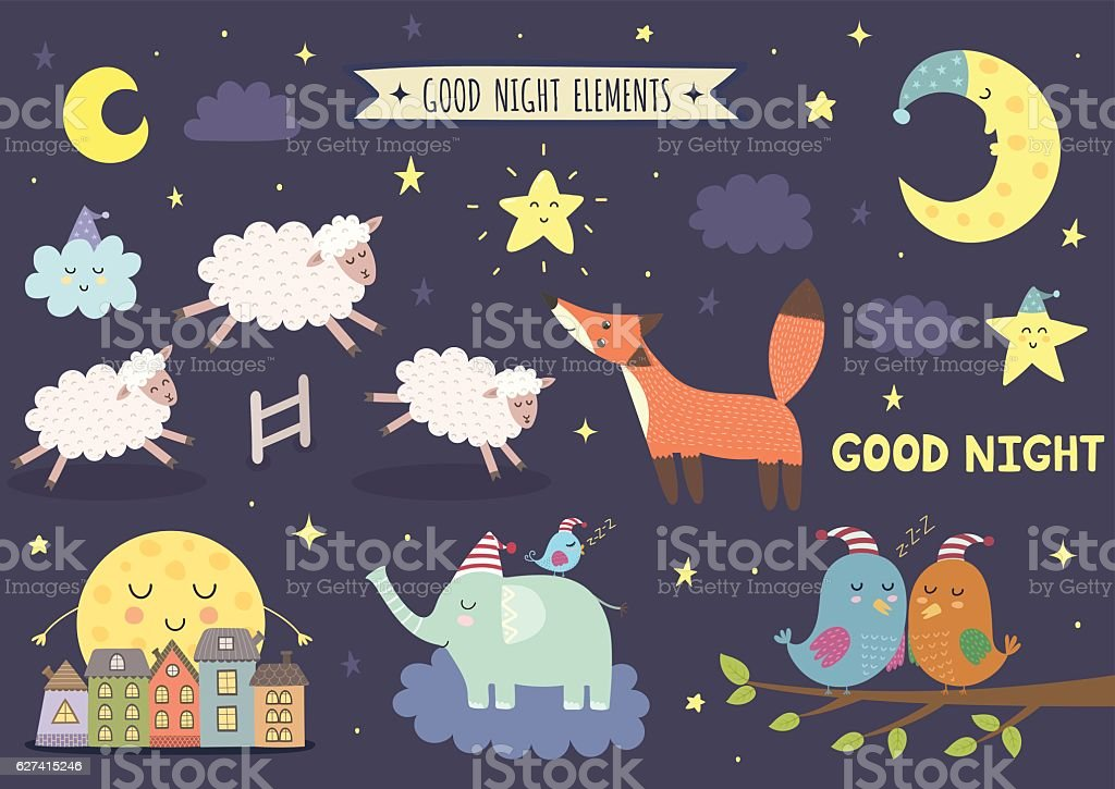 Good night isolated elements for your design vector art illustration