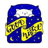 Good Night lettering with a cute white sleeping kitty