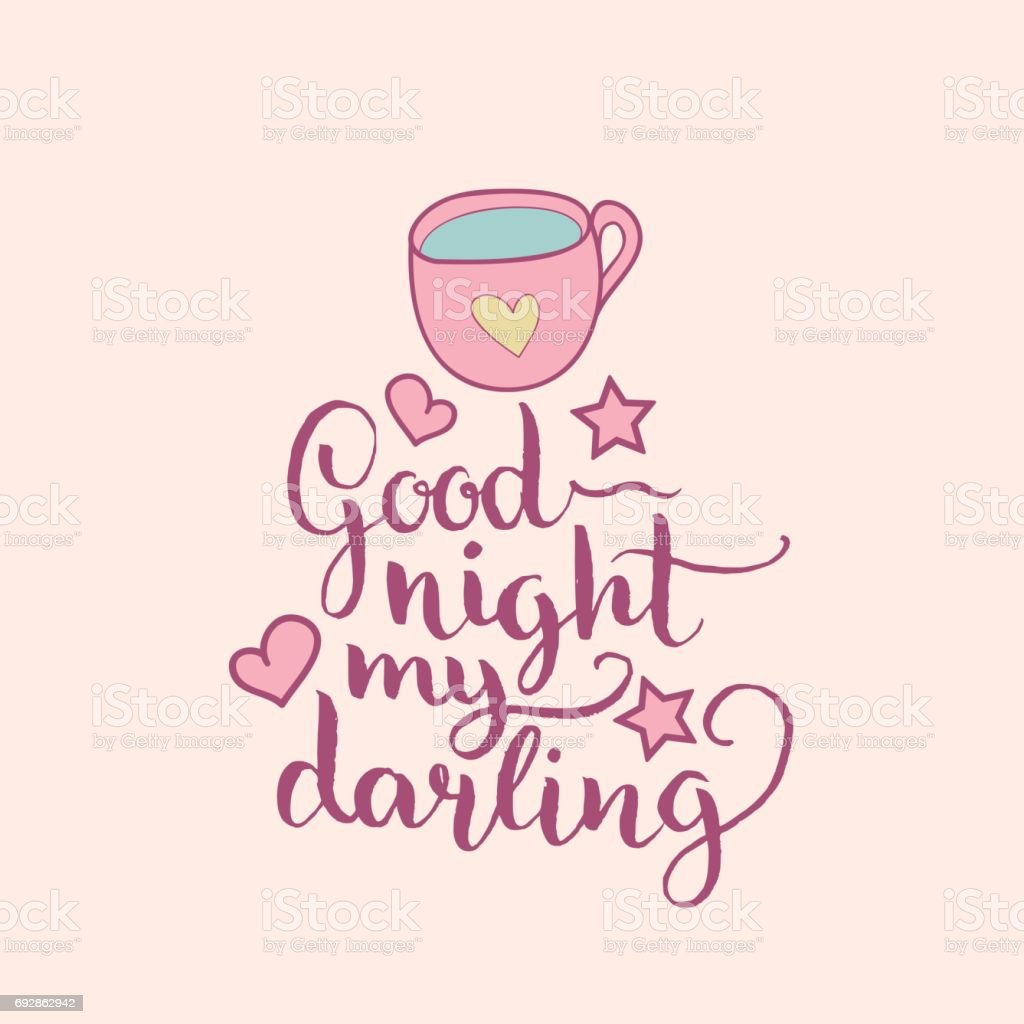 Good Night My Darling Hand Letteringvector Cute Illustration With