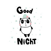 vector illustration, sleepy panda and good night hand lettering text