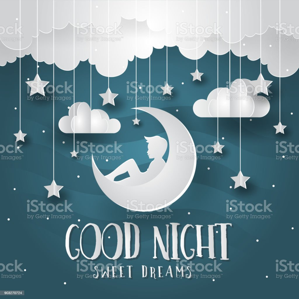Good Night Paper Art Greeting Card And Banner Illustration Stock