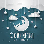 Good Night Paper Art Greeting Card and Banner Illustration