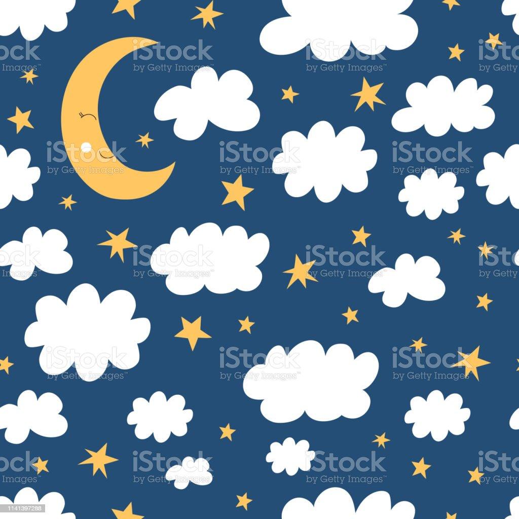 Bonne Nuit Modèle Sans Soudure Demi Lune Nuages Et Fond étoilé
