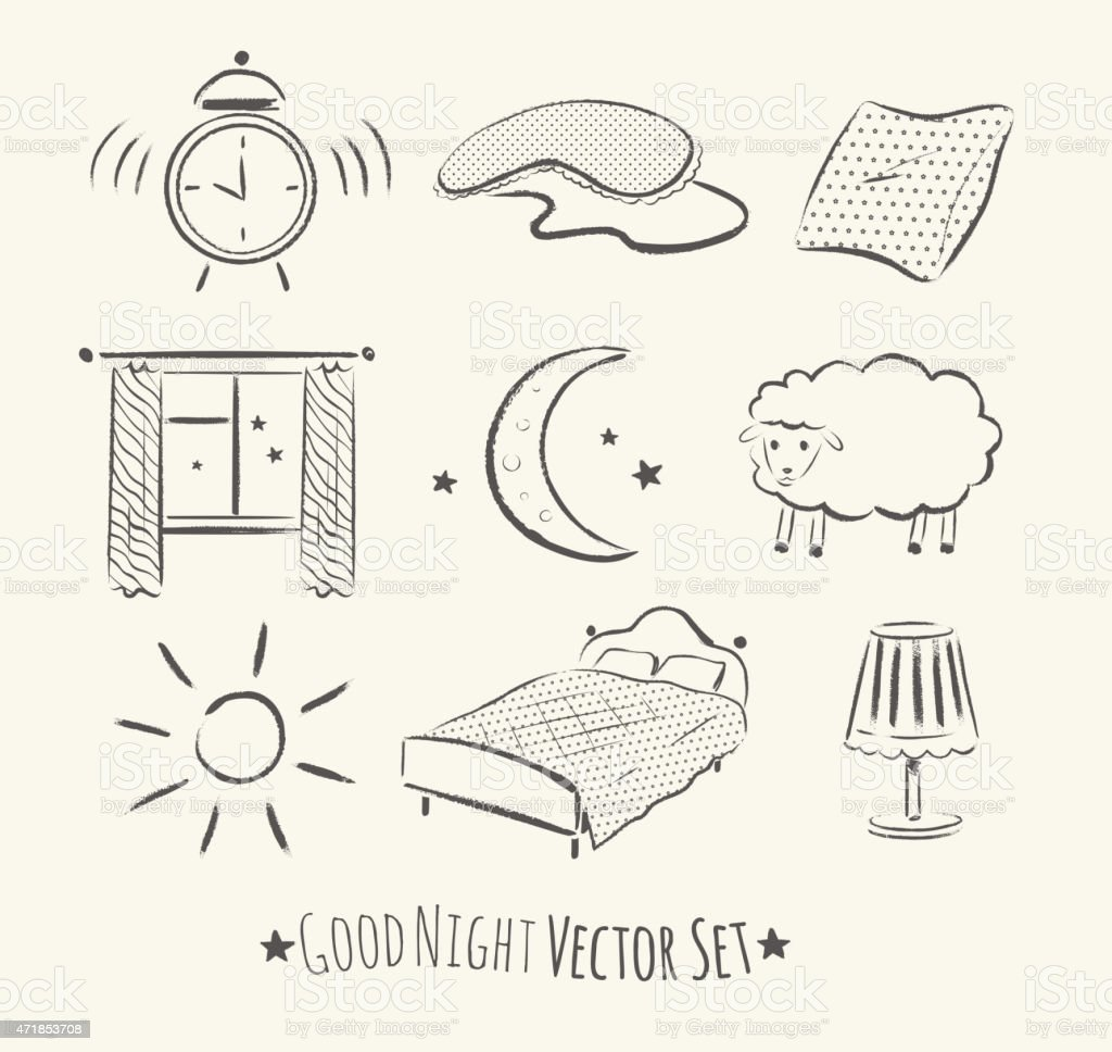 Good night set. vector art illustration