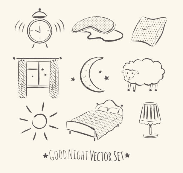Good night set. vector art illustration