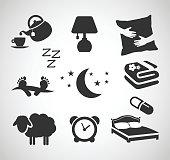 Good night - sleep icon set vector illustration