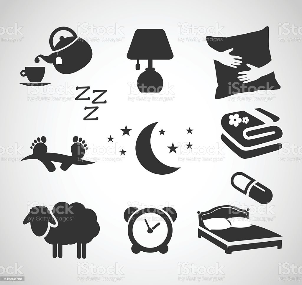 Good night - sleep icon set vector illustration vector art illustration