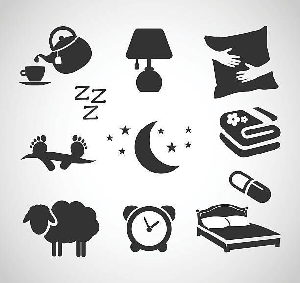 Good night - sleep icon set vector illustration Good night - sleep icon set  - vector illustration isolated on white background bedroom symbols stock illustrations
