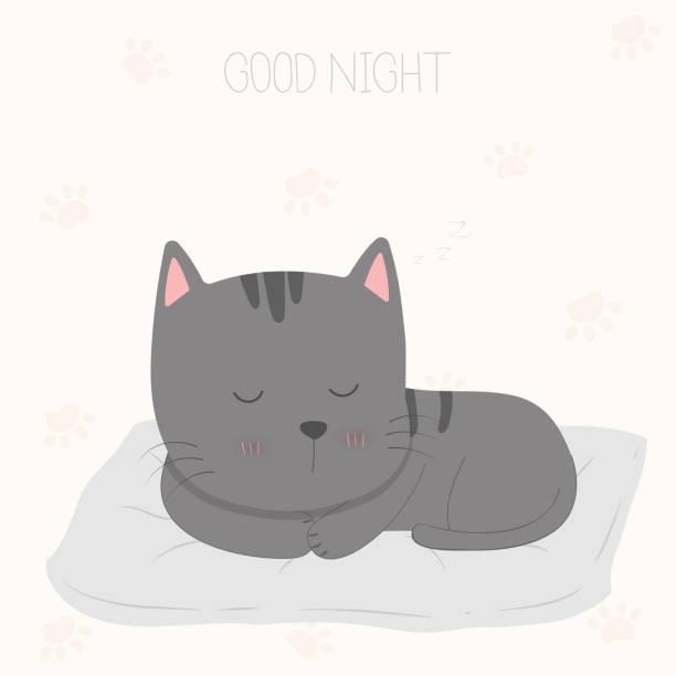 gute nacht schlafende katze. - herzkissen stock-grafiken, -clipart, -cartoons und -symbole