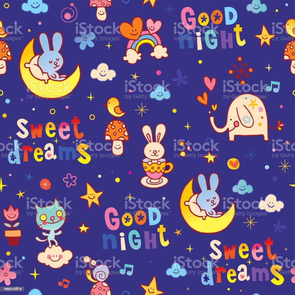 Good Night Sweet Dreams Kids Seamless Pattern Stock Vector Art