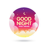 Good Night, Sweet Dreams lettering. Moon, Stars and Clouds on the dark night sky background stock illustration