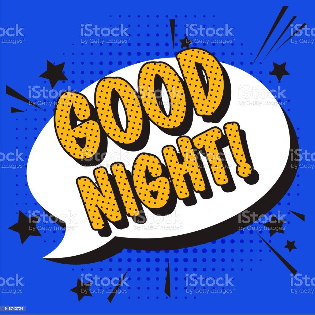 Good Night Text Pop Art Phrase In Comic Style Stock Vector Art