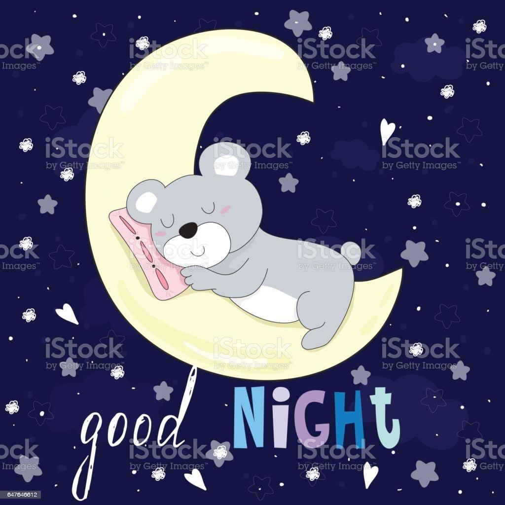 Good Night Vector Card With Bear Sleep On The Moon Stock