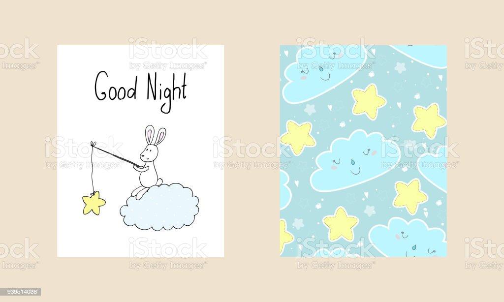 Good Night Vector Card With Cute Rabbit Vector Print Stock Vector
