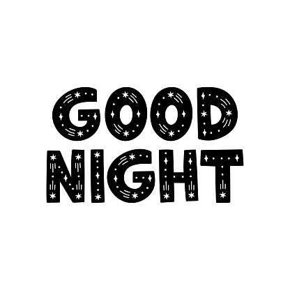 Good night vector hand drawn lettering