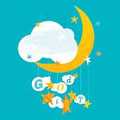 """Kids greeting card with """"Good Night!"""" text message. Vector. EPS 8."""