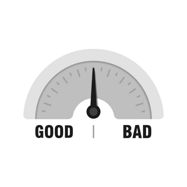 Good or Bad measuring gauge. Vector indicator illustration. Meter with black arrow in white background Good or Bad measuring gauge. Vector indicator illustration. Meter with black arrow in white background. infamous stock illustrations