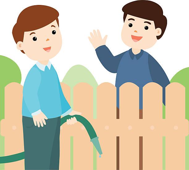 stockillustraties, clipart, cartoons en iconen met good relationship of neighbor vector - buren