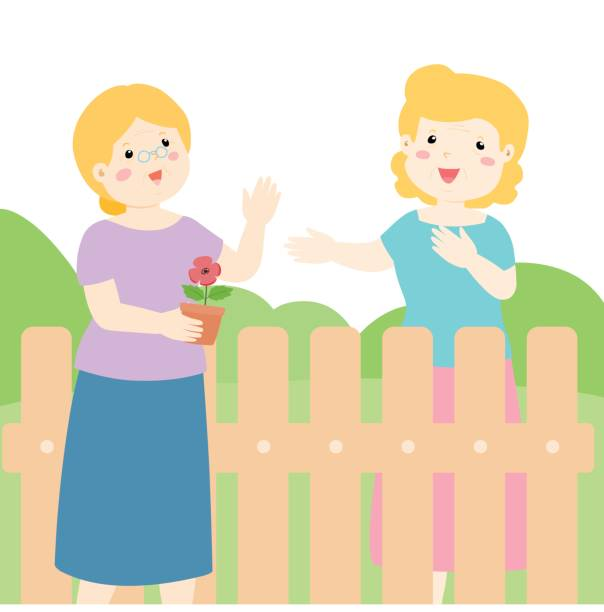 Good Relationship Of Senior Neighbor Vector Art Illustration