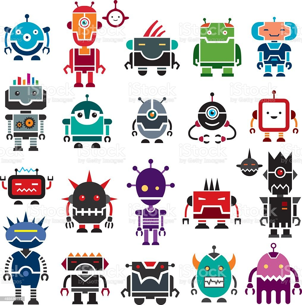 Good Robots and Bad Robots vector art illustration